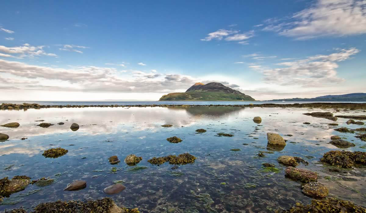 the holy isle as viewed from lamlash bay hotel